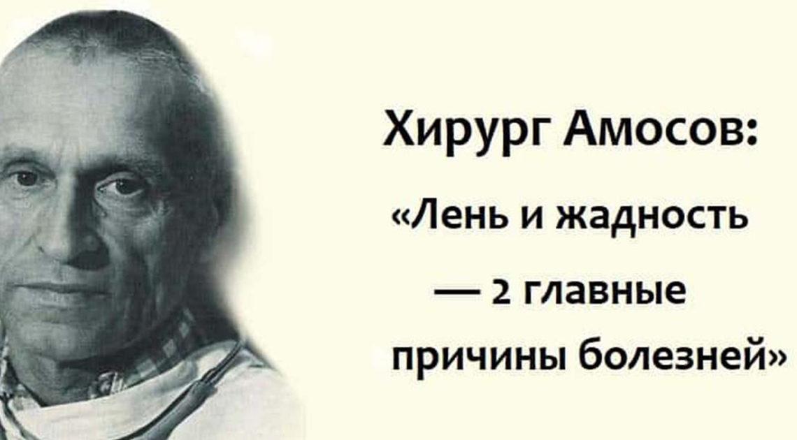 Легендарный хирург Амосов: главными причинами болезней считают чувство лени и жадности